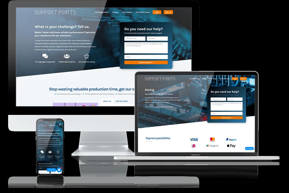 Mockup SupportPoints website